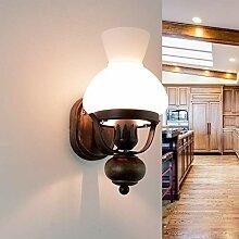 Urige Wandleuchte Landhausstil Holz Glas Öllampen