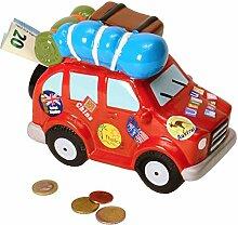 Urlaubsgeld Auto Spardose aus Keramik - Urlaubsgeld Auto Sparbüchse Sparschwein Urlaub