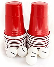 US College Party Beer Pong Partybecher Rot Set mit