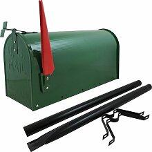 US Mailbox Amerikanischer Briefkasten Standbriefkasten Wandbriefkasten Letterbox Grün Inclusive Standpfosten