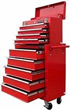 US Pro Tools 133erWerkzeugbox/-schrank mit Rollen und 9 Schubladen auf Kugellager-Folien, ro