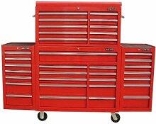 US PRO TOOLS Werkzeugwagen Werkzeugkasten komplett mit 2 x Seite Rot Vitrinenlemen