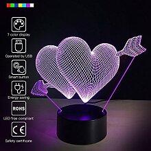 USB 3D Glow LED Nachtlicht 7wechselbaren Farben Optische Illusion Lampe Touch Sensor perfekt für Home Party Festival Decor tolle Geschenkidee
