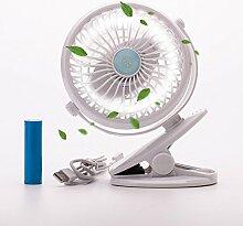 USB Clip Ventilator mit Aufladbare Batterie mini Tischventilator Fan   Stufenlose Geschwindigkeitsmodi, 360° Rotation   PC, MAC, Notebook für den Schreibtisch, Kinderwagen, Rollstuhl, Schlafzimmer, Camping (Weiß)
