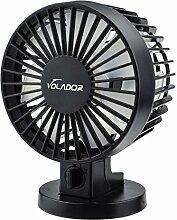 USB Desktop Fan, Volador Double Blades Portable Mini Fan Quiet Table Fan Personal Fan PC/Laptop Cooling Fan Adjustable Angle(Black)
