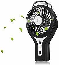 USB Handheld Ventilator, Mini Fan mit Zerstäuber,3 Modi der Windgeschwindigkeiten Tragbar-Klimaanlage für heiße Sommeraußen Reisen ( Schwarz)