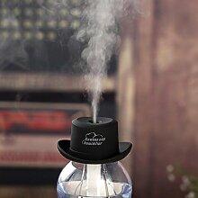 Usb-Luftbefeuchter Mini Cowboy Hut Kappenbefeuchter Zuhause Feuchtigkeitsspendendes Wasser Wohnzimmer BüRo Wasserflasche Deckel Luftbefeuchter , black