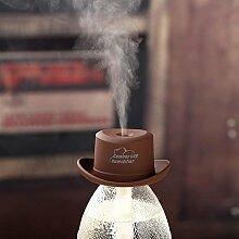 Usb-Luftbefeuchter Mini Cowboy Hut Kappenbefeuchter Zuhause Feuchtigkeitsspendendes Wasser Wohnzimmer BüRo Wasserflasche Deckel Luftbefeuchter , grey