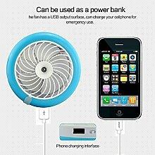 USB-Tisch-Ventilator Fan mit 2000mAh Energien-Bank für bewegliches Klima-Ventilator, Befeuchter-Ventilator, beweglicher Wasser-Spray-Ventilator und Schreibtisch Humidifie Niedriges Betriebsgeräusch JUF4 (Blau)
