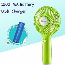 Usb-Ventilator handheld mini Ventilator wiederaufladbare dritten Gang Einstellung elektrischer Ventilator, Grün