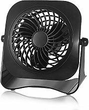 USB Ventilator Mini Ventilator Computer Tischventilator Geschwindigkeit Glamouric Mini Fan Lüfter Schreibtisch Bodenventilator Windmaschine leise 360°Drehbar mit An/Aus-Schalter schwarz