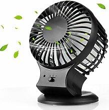 USB Ventilator, Mture Mini Ventilator Tischventilator Portable Mini Tisch-Ventilator USB Fan mit Doppelklinge, 2 Geschwindigkeit und einstellbar Winkel Desktop Fan für zu Hause, Büro - Schwarz