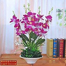 USDFJN Dekoration Silk Blume Fake Vase Künstliche Schmetterling Orchidee Violett 60 Cm