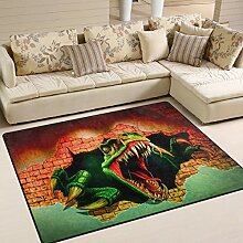 Use7 3D-Teppich, Motiv Dino Rau, für Wohnzimmer,