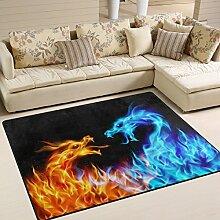 Use7 Abstrakter Teppich mit Drachenmotiv,