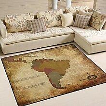 Use7 Antike Weltkarte Südamerika Vintage Teppich