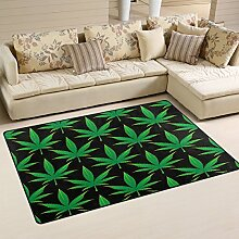 Use7 Cannabis Marihuana Teppich mit Blattmotiv,