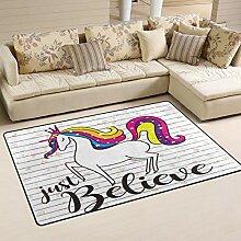 Use7 Einhorn-Pferdeteppich, Rutschfeste Fußmatte