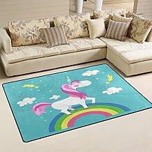 Use7 Einhorn Regenbogen Wolke Teppich Rutschfeste