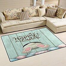 Use7 Fußmatte aus Holz, Motiv: Hase mit Ostern,