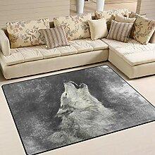 Use7 Grauer Wolf Teppich für Wohnzimmer,