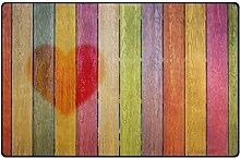 Use7 Mehrfarbige Holz-Teppich, Herzmotiv,
