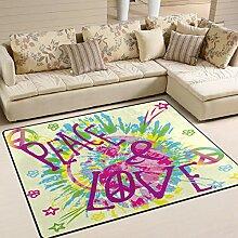 Use7 Peace Sign Love Aquarell-Teppich, für