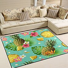 Use7 Sommerteppich Hawaii Ananas Obstblumen