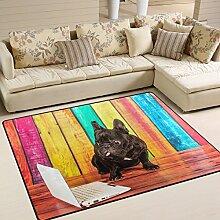 Use7 Teppich, französische Bulldogge, Holz, für
