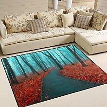 Use7 Teppich für Wohnzimmer, Schlafzimmer, Wald,