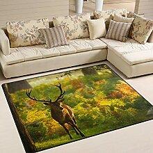 Use7 Teppich, Hirsch, Herbstwald, Landschaft,