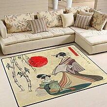 Use7 Teppich, Japanisches Geisha-Mädchen, Bambus,