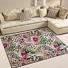 Use7 Teppich, Leopardenmuster, Rosenmuster, für