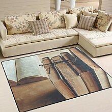 Use7 Teppich mit Brille für Wohnzimmer,