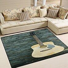 Use7 Teppich mit Gitarre gegen Wand, Holz, für