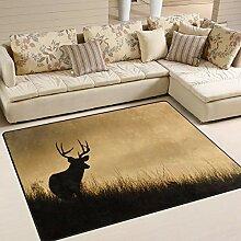 Use7 Teppich mit Hirsch-Silhouette, Wald,