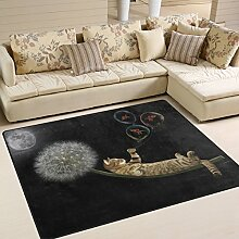 Use7 Teppich mit Katzenmotiv auf Löwenzahnfliegen
