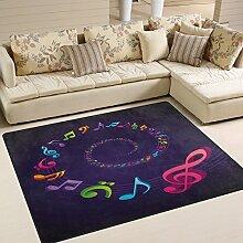 Use7 Teppich mit lustigem Musiknoten-Motiv, Lila,