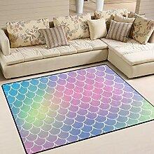 Use7 Teppich mit Meerjungfrau-Schuppe, abstrakt,