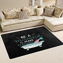 Use7 Teppich mit Meerjungfrau, Wasserwelle, für