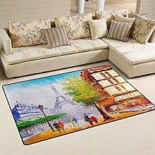 Use7 Teppich mit Ölgemälde, Motiv: Paris Street