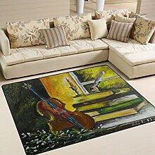 Use7 Teppich mit Ölgemälde, Musik-Violine, für