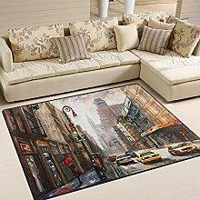 Use7 Teppich mit Ölgemälde New York City Street