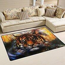 Use7 Teppich mit Ölgemälde, Tiger-Motiv,