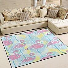 Use7 Teppich mit Palmenblättern, Flamingo, Vogel,