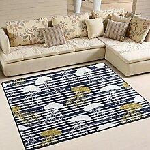 Use7 Teppich mit Quallen-Silhouette, goldfarben