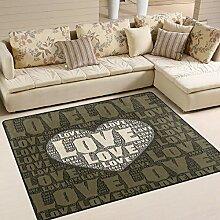 Use7 Teppich mit Schriftzug Love Words with Heart