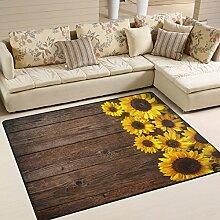 Use7 Teppich mit Sonnenblumen-Motiv auf