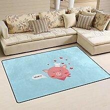 Use7 Teppich mit süßem Schweinchen-Motiv, für