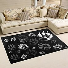 Use7 Teppich mit Tierpfotenabdruck-Motiv, für